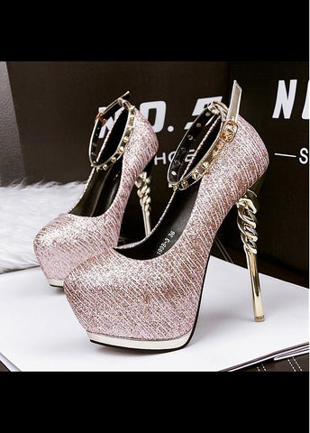 Shimmering Powder Upper Round Toe Stiletto Heels Party Shoes