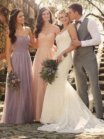 Long Chiffon Sweetheart Light Purple Bridesmaid Dress