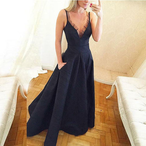 V-Neck Navy Blue Satin Prom Dress with Lace Pockets