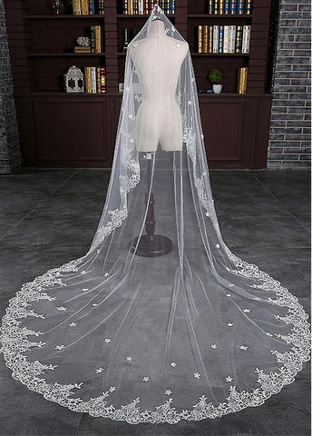 Marvelous Tulle Cathedral Wedding Veil With Lace Appliques