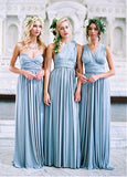 Pretty Spandex Sweetheart Neckline Full Length A-line Convertible Bridesmaid Dresses