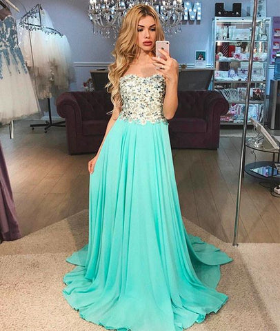 Green Round Neck Applique Tulle Long Evening Prom Dress