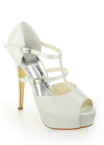 Chic Satin Upper Peep Toe Stiletto Heels Bridal Shoes