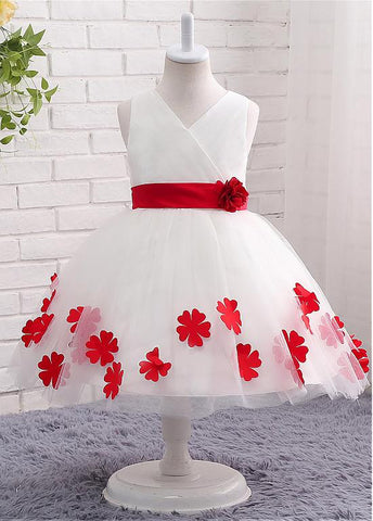 Marvelous Tulle V-neck Neckline Ball Gown Flower Girl Dresses With Handmade flowers & Bowknot