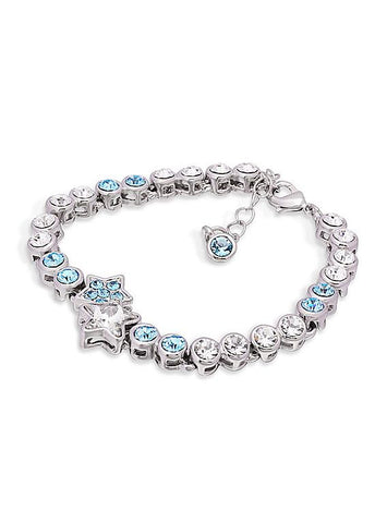 Plated Bracelet with Aquamarine Austria Crystal Star