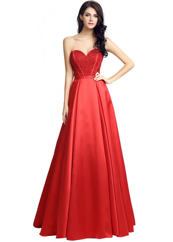 Wonderful Satin Neckline Natural Waistline A-Line Prom Dresses With Beadings