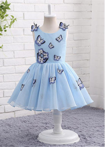 Unique Tulle Jewel Neckline Ball Gown Flower Girl Dresses With Embroidery Butterflies