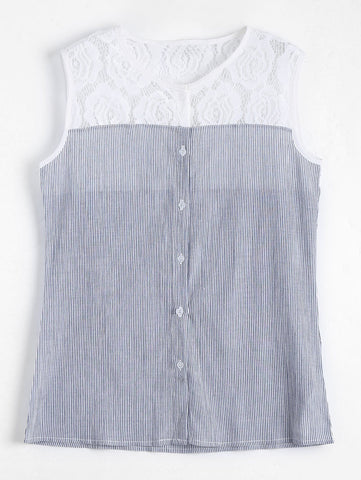 Fashion Lace Panel Sleeveless Striped Shirt