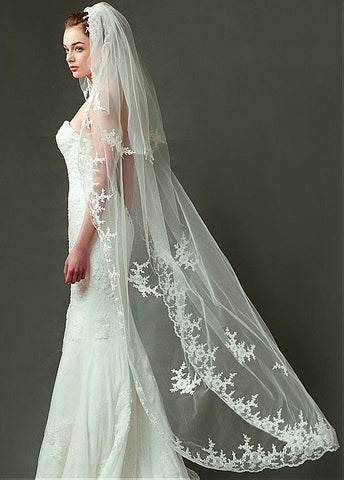 Amazing Tulle Wedding Veil With Lace Appliques