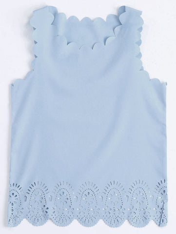Blue Scalloped Hem Hollow Out Tank Top