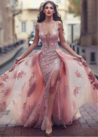 Tulle Jewel Pink Detachable Train Floor-length A-line Evening Dress