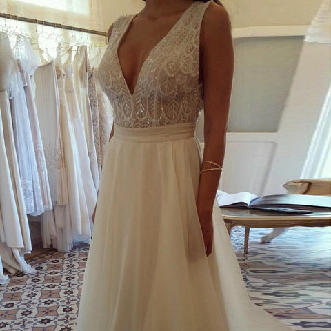 Deep V-Neck Backless Ivory Chiffon Wedding Dress with Lace