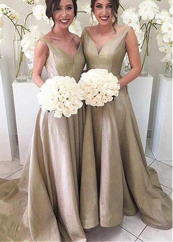 Chic Taffeta V-neck Neckline A-line Bridesmaid Dresses With Pleats