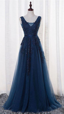 Navy Blue Tulle with Lace Appliqued Prom Dresses
