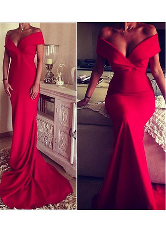 Red Graceful Sheath Evening Dress