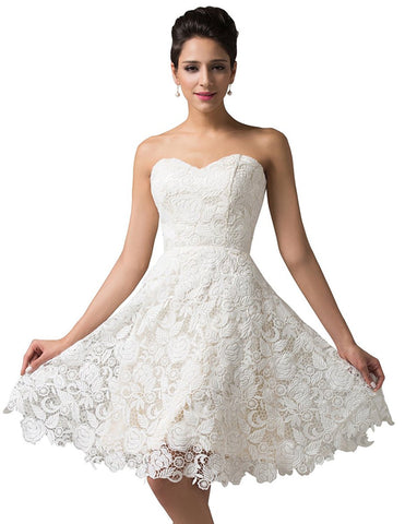 Off White Lace Short Bridal Prom Gown Wedding Evening Dress