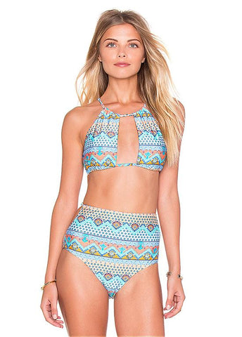 Chic Halter Top High Waist Bottom Bikini With Print