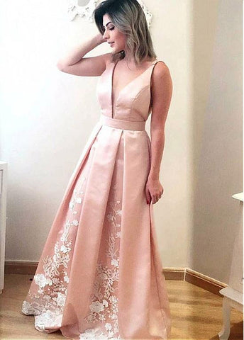 Pink  V Neck Prom Dress With Lace Appliques