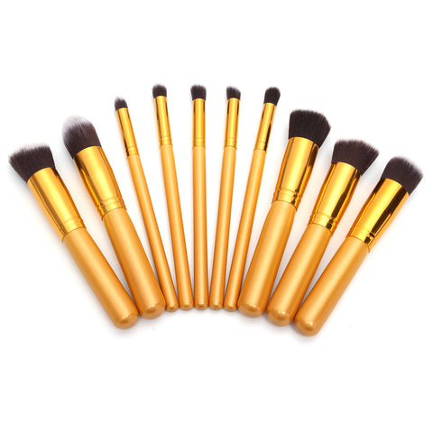 10Pcs Purple Makeup Brushes Set