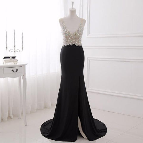 Black Crystal Top Split Mermad Beading Prom Dress