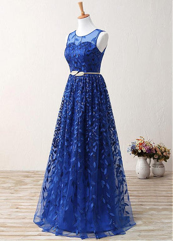Royal Blue Fantastic Lace Jewel Neckline A-Line Prom Dresses