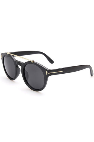 Stunning Alloy Embellished Matte Black Sunglasses
