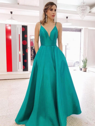 V Neck Backless Green Long A Line Prom Dresses with Pocket