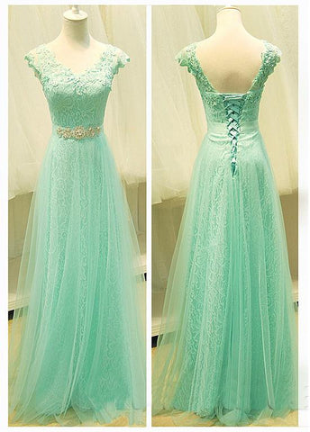 Alluring Tulle V-neck Neckline A-line Prom Dresses With Beaded Lace Appliques