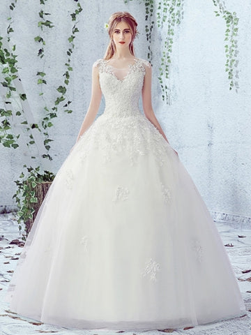 Lace-Up Appliques Beading Ball Gown Wedding Dress