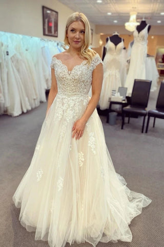Appliques Sweep Train V Neck A Line Tulle Wedding Dress