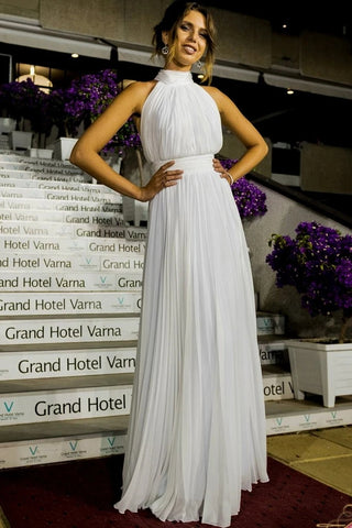 A Line Sleeveless High Neck Chiffon PleatsWedding Dress