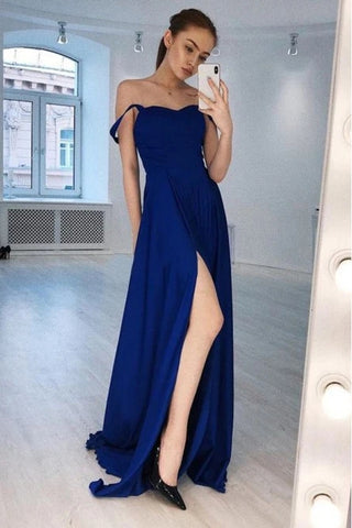 Chiffon A Line Royal Blue Off The Shoulder Prom Dress With Slit