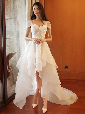 Beading High-Low Wedding Dress