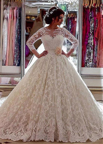 Lace Jewel Long Sleeves Ball Gown Wedding Dress With 3D Flowers