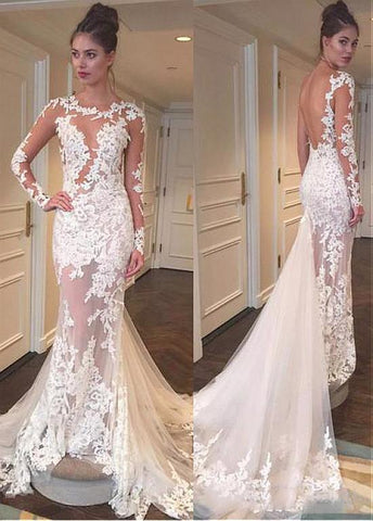 Sexy Spaghetti Straps Mermaid Wedding Dress With Lace Appliques