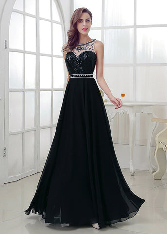 Black Attractive Chiffon Bateau Neckline A-Line Prom Dresses With Beadings