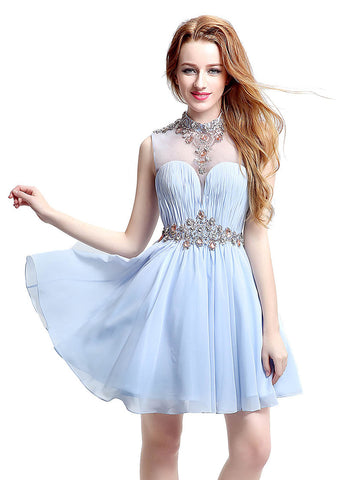 Stunning Chiffon & Tulle Illusion High Collar Neckline Short-length A-line Homecoming Dresses With Beadings & Pleats