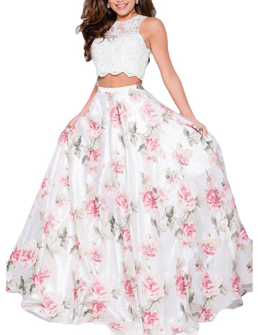 Two Piece Lace Print Prom Dress