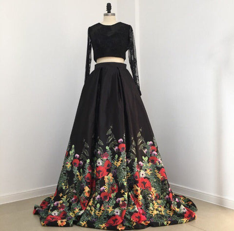Floral Flowers Pattern Print Two Piece Prom Dresses