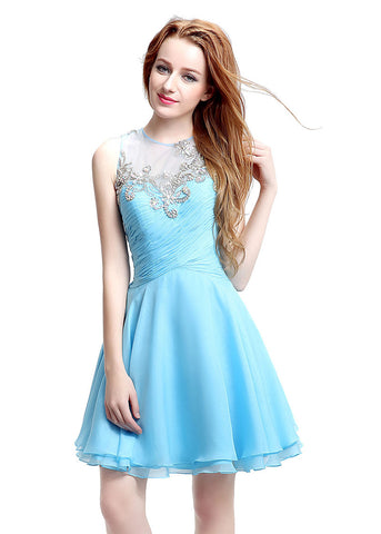 Wonderful Chiffon & Tulle Illusion Jewel Neckline Cut-out A-line Homecoming Dresses With Beadings & Pleats