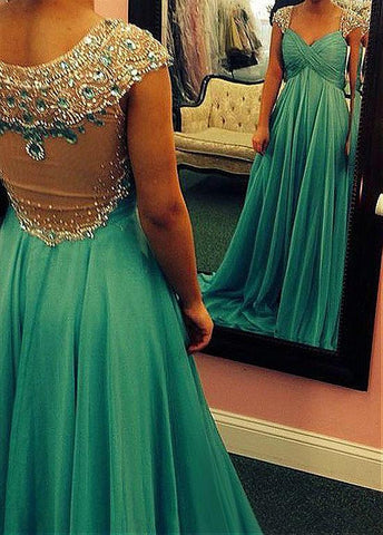 Fashionable Tulle & Silk-like Chiffon Sweetheart Neckline A-Line Prom Dresses With Beads & Rhinestones