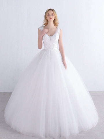 V-Neck Tulle Appliques Ball Gown Princess Wedding Dress