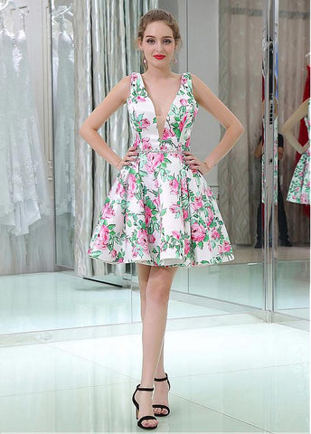 Floral Cloth V-neck Neckline Short Length A-line Homecoming Dresses With Beadings