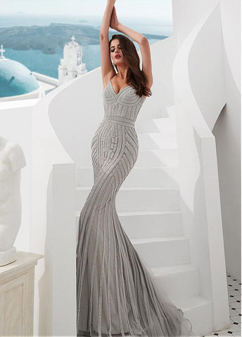 Tulle Spaghetti Straps Silver Mermaid Evening Dress With Rhinestones