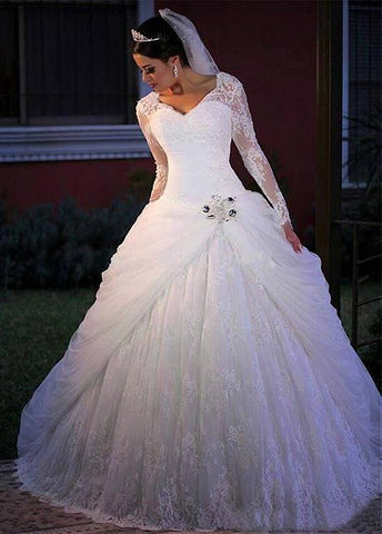 Long Sleeve Lace V-neck Beading Ball Gown Wedding Dress
