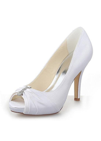 Chic Satin Peep Toe Stiletto Heels Bridal Shoes With Rhinestones