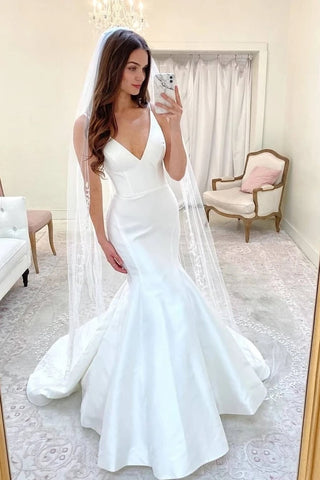 Sweep Train Satin Sexy V Neck Mermaid Wedding Dress