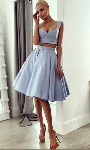 Two Piece  Ice Blue Homecoming Dress