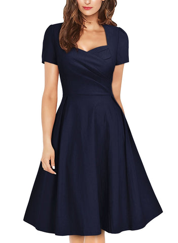 Women's Vintage 1950s Navy Style Short Sleeve Pleated Cocktail Swing Dress