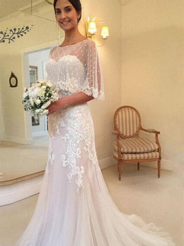 Sheath Column Tulle Applique Sweetheart Sweep/Brush Train Wedding Dress